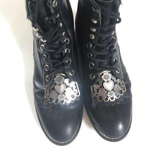 JUSTIN | Kid's Hiram Black Leather Boots Size 3.5D